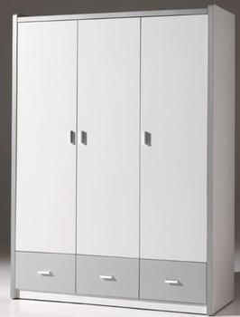 Vipack Kleiderschrank Bonny (3-türig) - Weiß/Silbergrau