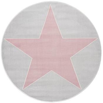 Livone Happy Rugs Shootingstar rund (ø 133 cm) silbergrau/rosa