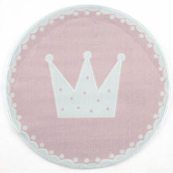 Livone Happy Rugs Crown rund (ø 133 cm) rosa/weiss