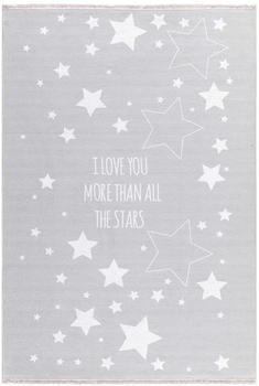 Livone Happy Rugs Love You Stars (100x160 cm) silbergrau/weiß