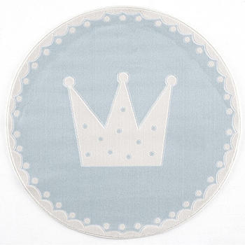 Livone Happy Rugs Crown rund (ø 133 cm) blau/weiss