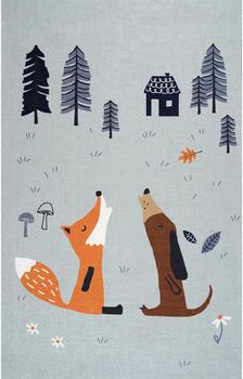 ScandicLiving Teppich Fuchs und Hund grau multi (100x160 cm)