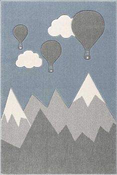 ScandicLiving Teppich Berg und Ballons silbergrau/weiß (120 x 180 cm)