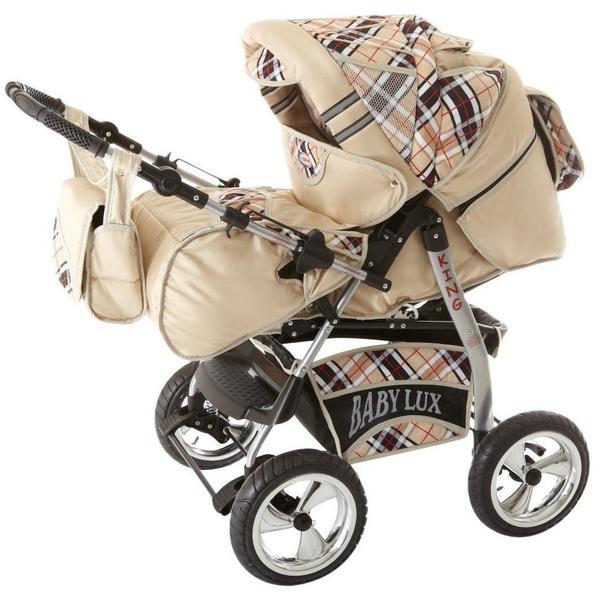 Lux4Kids King Kinderwagen Komplettset (Autositz, Regenschutz, Moskitonetz, Getränketablett, Matratze, Wickelunterlage) 66 Beige & Karo