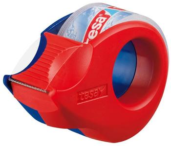 tesa-tesafilm-mini-handabroller-rot-blau-1-rolle-kristallklar-57585