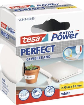 Tesa extra Power Perfect Gewebeband 2,75m x 38mm weiß