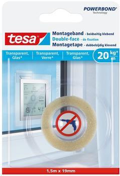 Tesa Montageband für transparente Oberflächen und Glas, 1,5m x 19mm (77740-00000-00)