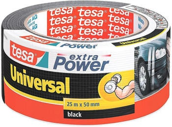 Tesa Extra Power Universal Gewebeband 25m x 50mm schwarz