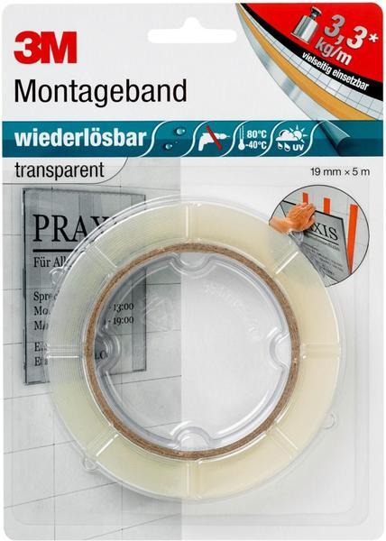3m montageband wiederl sbar transparent 5m x 19mm test 3m klebeb nder auf. Black Bedroom Furniture Sets. Home Design Ideas