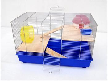 Ollesch Mäusekäfig Hamsterkäfig Nagerkäfig 58x32x38 cm blau mit Zubehör