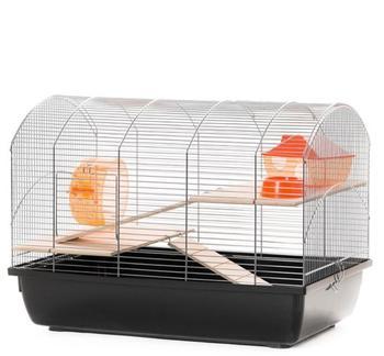 ollesch Mäusekäfig Hamsterkäfig Nagerkäfig 59x36x43 cm chrom schwarz mit Zubehör