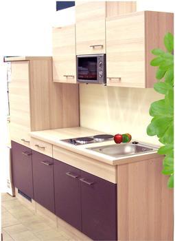Flex-Well Singleküche aubergine Akazie 210 cm