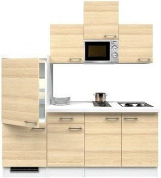 smartmoebel Singleküche 210 cm Arezzo - weiß mit Kochmulde