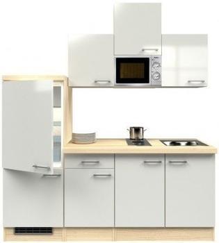 smartmoebel Singleküche 210 cm Namu - Buche -mit Kochmulde
