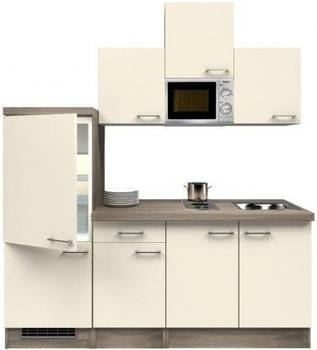 smartmoebel Singleküche 210 cm Magnolie mit Kochmulde