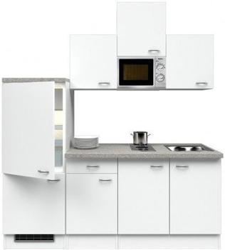 smartmoebel Singleküche 210 cm Witus - weiß mit Kochmulde