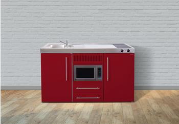 Stengel Premium Miniküche 150 cm rot Becken rechts