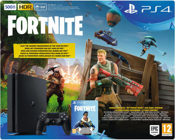 Sony PS4 500GB schwarz + Fortnite Royal Bomber Pack Voucher (Bundle)