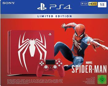 Sony PlayStation 4 1TB Spider-Man + Marvel`s 1000GB WLAN rot