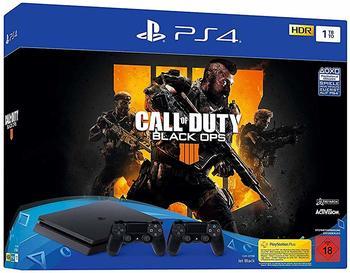 Sony PlayStation 4 Slim (PS4 Slim) 1TB (Bundle, incl. Call of Duty: Black Ops 4 + 2 Wireless-Controller) schwarz