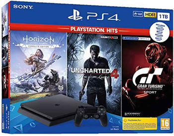 Sony PlayStation 4 Slim inkl. Uncharted 4, Horizon, GT Sport, 1 TB