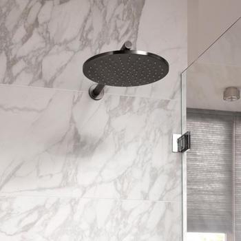 Herzbach Design iX PVD Regenbrause mit 30 cm Durchmesser für Decken- oder Wandarm black steel 21.610300.1.40