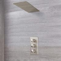 Hudson Reed Aldwick Thermostatarmatur mit Wasserfall-Regen-Duschkopf - Gebürstetes Nickel