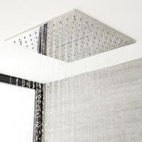 Hudson Reed Kubix, - Regen-Duschkopf Edelstahl mit Wasserblade Unterputz Quadratisch 400x400mm Chrom