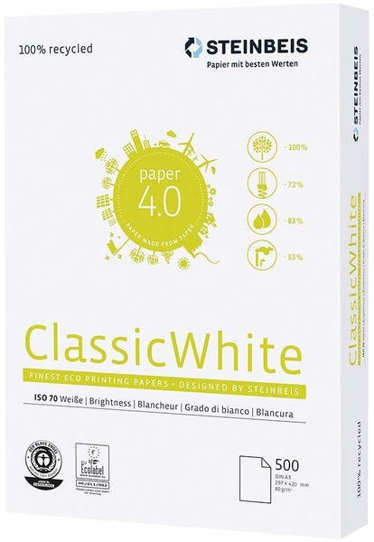 Steinbeis Recyclingpapier Classic White weiß