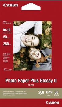 Canon 2311B003 Fotopapier, Plus II PP-201, glänzend, 50 Blatt, 275 g/m² 10x15cm