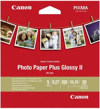 Canon Photo Paper Plus Glossy II PP-201 2311B060 Fotopapier 13 x 13cm 265 g/m² 20 Blatt Glänzend