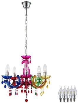 ETC Shop Kronleuchter Hänge Lampe bunt Pendel Beleuchtung im Set inklusive LED Leuchtmittel