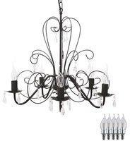 etc-shop Vintage Pendel Lampe Kronleuchter Esszimmer Luster Kristalle klar im Set inkl. LED Leuchtmittel