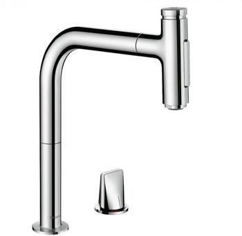 Hansgrohe Metris Select M71 Küchenarmatur 200 mit ausziehbarer Dual-Spülbrause chrom (73819000)
