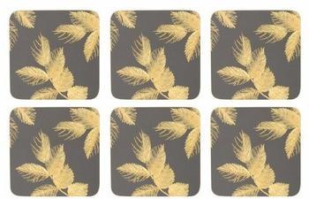 Pimpernel Etched Leaves Glasuntersetzer 6er Pack dunkelgrau