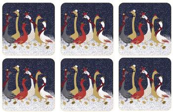 Pimpernel Christmas Geese Glasuntersetzer 6er Pack Blau