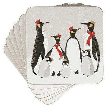 Pimpernel Christmas Penguin Glasuntersetzer 6er Pack Grau