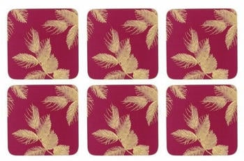 Pimpernel Etched Leaves Glasuntersetzer 6er Pack Pink