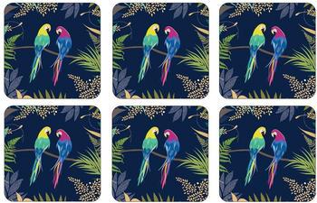 Pimpernel Parrot Glasuntersetzer 6er Pack blau