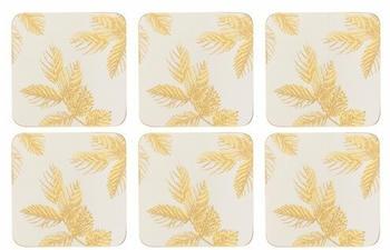 Pimpernel Etched Leaves Glasuntersetzer 6er Pack hellgrau