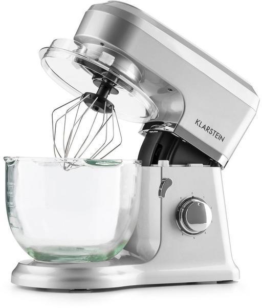 Klarstein Allegra Argente Küchenmaschine 800 W 3 l Glasschüssel silber