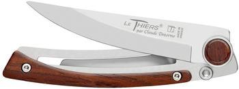 Claude Dozorme Le Thiers Messer, habilé Serie, Frame-Lock, X50CrMoV15 Stahl, Rosenholz, Gürtelclip