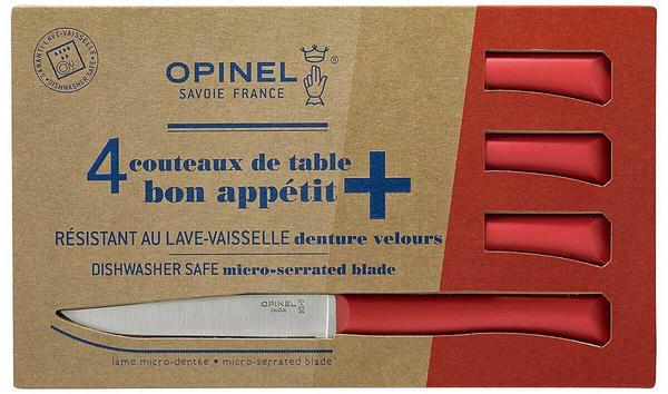 Opinel Bon Appetit+ Tafelmesser, 4-tlg., Sandvik-Stahl 12C27, rostfrei, Mikrozahnung, roter Polymer-Kunststoffgriff