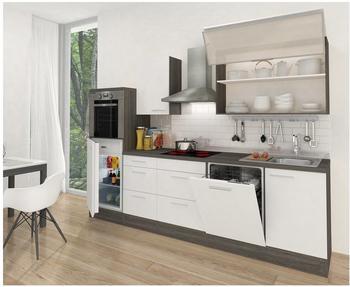 Respekta Küchenzeile Premium 280 cm weiß-eiche grau (RP280HEW)