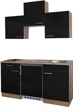 Respekta Küchenzeile 150cm schwarz Eiche Sägerau (KB150ESS)