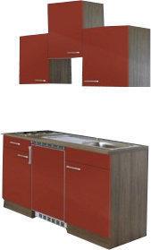 Respekta Küchenzeile 150cm rot Eiche York (KB150EYRC)