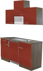 Respekta Küchenzeile 150cm rot Eiche York (KB150EYRMIC)