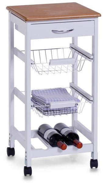 Zeller Küchenrollwagen Bamboo/weiß (13773)