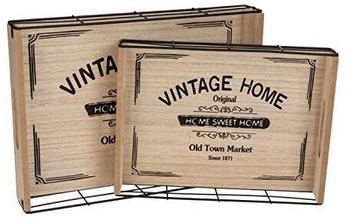 Out Of The Blue 2er-Set Holz/Metall Tablett Vintage Home