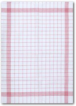 """Dyckhoff Geschirrtuch """"KARO / Halbleinen - 50x70 cm"""" (Set 10-tlg) weiß-rot"""